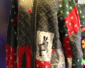 Woven Reindeer Ugly Christmas Sweater
