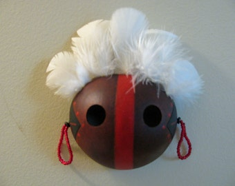 Small Gourd Mask with Black and Red Markings