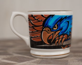 Ravenclaw Quidditch Mug - Hand painted sports Mug - Medium sized, heavy coffee cup with eagle and lightning bolt - Harry Potter