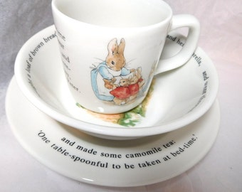Vintage PETER RABBIT child's 3 piece set New in Box WEDGEWOOD China Great Collectible/Gift!