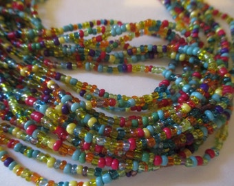 Rainbow Multi Strand Necklace Glass Beads Great Colors