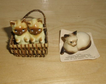 Vintage Miniature Cats, Siamese Cat on Card, Hagen Renaker Inc. 1981, 2 Siamese Kittens in Woven Basket, Bone China, Japan, Stocking Stuffer