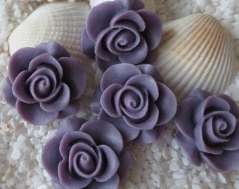 Resin Rose Cabochon - 21mm - 12 pcs - Lavender