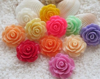 Resin Flower Cabochon - 18mm - 6pcs - CHOICE OF COLOR