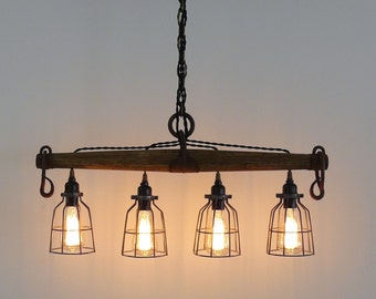Rustic Industrial Yoke Chandelier, Modern Industrial Lighting