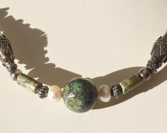 "Sterling and Balinese Silver 24"" Necklace with Chinese Turquoise and Pearls"