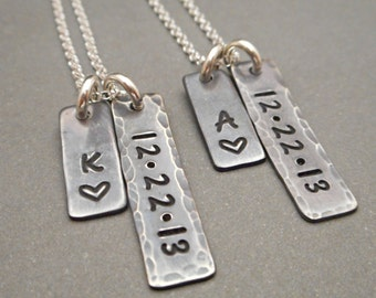 Personalized long distance his and hers, his and hers jewelry, jewelry sets, matching gifts for couples