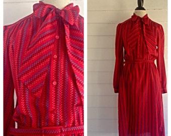 Vintage 70s-80s Ruby Red SECRETARY Dress w Matching Belt