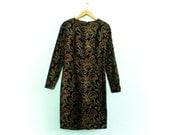 Vintage velvet dress floral / dark brown multicolor / gold blue green orange / long sleeve / fitted / pencil dress / midi / extra small