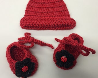Crochet Baby Ballerina Shoes & Hat Set_Red