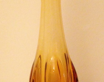 "Mid Century 17.5"" Amber VIKING Glass Vase"
