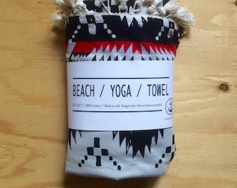 Beach / Yoga / Towel - Navy blue & red.