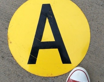 A Is For Apple Vintage Metal Industrial Round Letter Sign