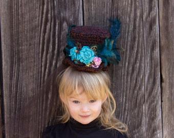 Crochet Medium Size Top Hat Headband-CUSTOM MADE- Mad Hatter Style Birthday Photo Prop, Mardi Gras, Easter Bonnet, Photo Prop, Cake Smash