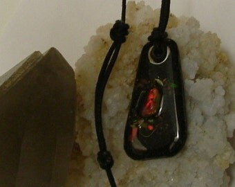 Bright Red, Green and Gold Color Fire Gem Ammolite From Utah Deposit, Fishing Fly Mens Cord Necklace 621