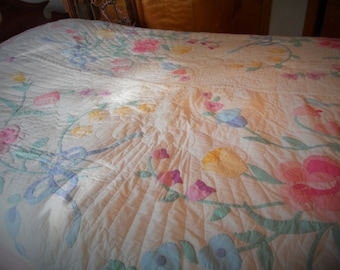 Antique Appliqued Quilt Hand Stitched 90 inches by 76 inches