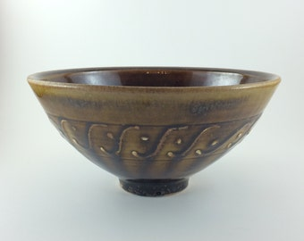 Hand Thrown Wood Fired Stoneware Pottery Bowl (YCP646)