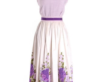 True Vintage 1960s Border Print Maxi Dress Purple Flowers X S