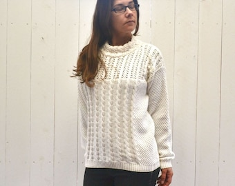 Cable Knit Sweater 80s Vintage White Cotton Pullover Twin Peaks Woodland Medium Large