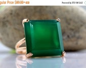 SUMMER SALE - rose gold ring,green onyx ring,green ring,gemstone ring,square ring,cocktail ring,statement ring
