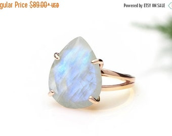 SUMMER SALE - Rainbow moonstone ring,cocktail ring,rose gold ring,teardrop ring,gemstone ring,October birthstone ring,statement ring