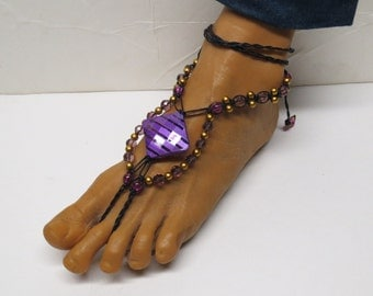 SALE Pair of Black, purple, and gold barefoot sandals made with hemp.  Beach and bellydance fashion. HFT-A268
