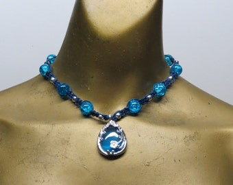 SALE Indigo, blue, and silver choker necklace made with hemp. Long ties in back. HCK-337
