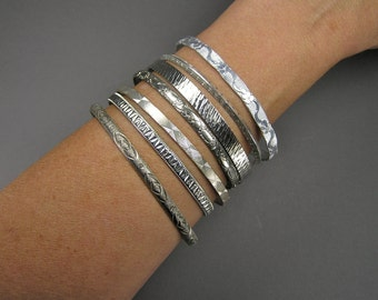 Vintage Bangle Lot, Patterned Bangles, 50's, 60's, Boho, Gypsy, Dancer's Delight, Silver Tone, 7 Bangles