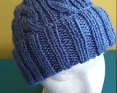 Denim Blue Cable Hand-Knit Hat. Super soft, for men or women- Ready to be Shipped