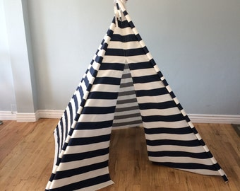 Navy and White Striped, Stripe, Play Teepee, Tee Pee, Tent (poles NOT included)