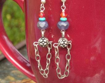 five dollar earrings, five dollar gifts, made in Montana, chain earrings, steampunk earrings, swarovski crystal, orange swarovski
