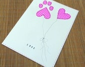 Pet lover's Valentine pink heart and paw print large card with envelope