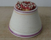 VICTORIAN MATCH STRIKER Haystack or Beehive Shape 3 Colors White with Pink & Orange Bands Design American Early 1900's Free Shipping!