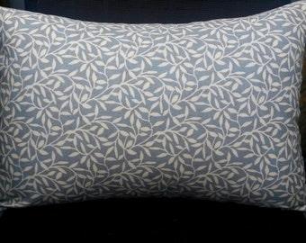 Sale, blue pillow cover, leaf pillow, floral pillow, blue lumbar pillow, 12 inch x 18 inch, lumbar pillow, blue decorative pillows