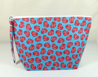 Knitting Project Bag - Large Zipper Wedge Bag in I Love Lucy TV show Quilting Fabric with Red and White Polka Dot Cotton Lining