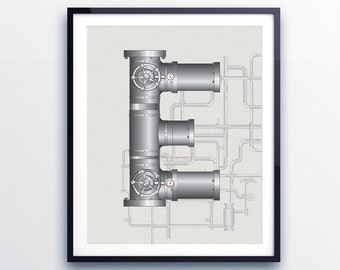 Industrial pipe letter print · monogram print · name art print · boys letter print · nursery monogram · personalised nursery