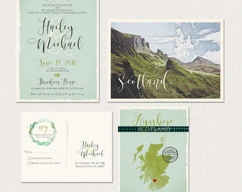 Scotland UK Wedding Invitation Suite - Scottish Invitation with tartan and landscape -Deposit Payment