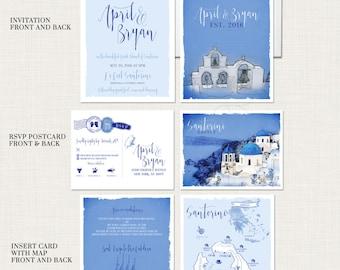 Destination wedding invitation Santorini Greece  - Greek Island Invitation Suite - European wedding - Deposit Payment