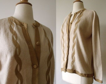 1960s Cashmere Sweater  / 60s Peck and Peck Sweater with Suede Appliqué