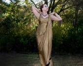 Black Gold, Erte Inspired Mermaid Skirt with Side Train
