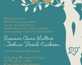 RUSH Love Bird Wedding Invitations - Teal and Gold Tree Wedding Invitation - Love birds in a tree - Custom Listing for summer2winter
