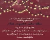 Custom Listing for christattct - Hanging Light Wedding Invitations, String Light, Burgandy Wedding Invitation, Bokah Discount Wedding