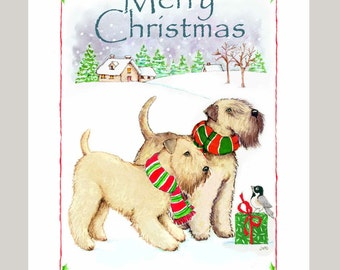 Soft Coated Wheaten Terriers Christmas Cards, Box of 16 Cards with 16 white Envelopes
