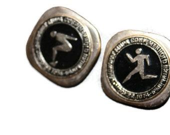 2 Great Designe Badges - 2 Pins - Vintage Soviet Russian metal brooch - Moscow 1974 World Modern Pentathlon Championships