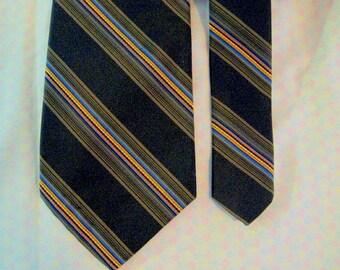 Exquisite vintage Robert Talbot  silk tie for Nordstroms, 1980s  Chocolate w yellow, blue, red