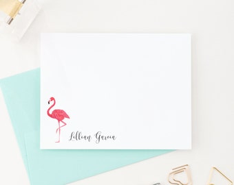 Flamingo Stationery, Custom Stationery, Personalized stationary, Flamingo Stationary, Thank you Cards, Stationery Set,  PS042
