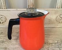 Retro Orange Percolator Coffee Pot - Vintage Enamel Stove top coffee pot