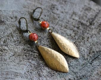 Boucles d'oreilles en laiton// brass earrings (BO-910)