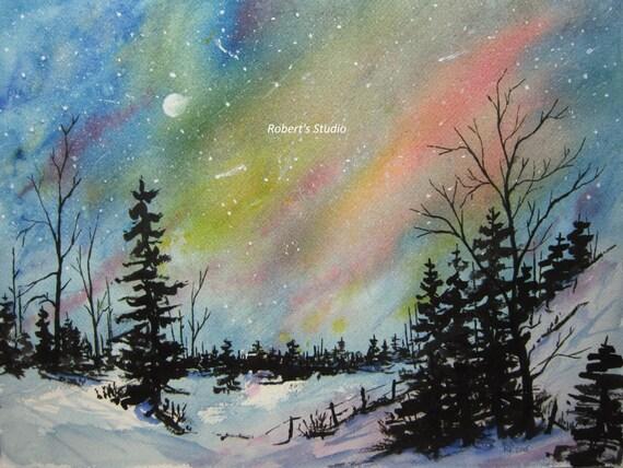 winter landscape archival print northern lights watercolor. Black Bedroom Furniture Sets. Home Design Ideas