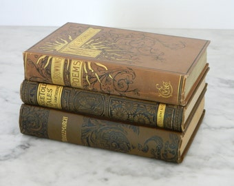 Antique Book Collection. Victorian Library. Poetry and Literature. Circa 1890. Browning, Hawthorne, Eliot.